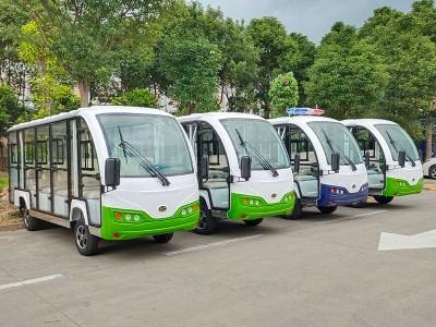 华锴14座电动封闭式观光车(绿)